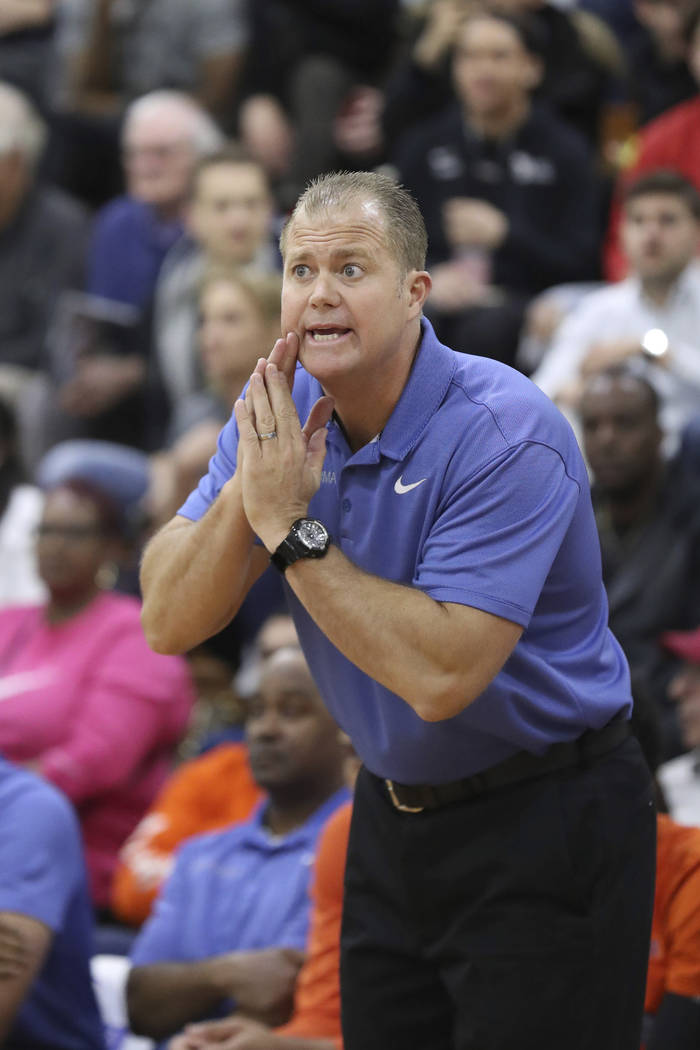 Bishop Gorman head coach Grant Rice is seen on the sidelines in a Boys Quarterfinal game at the ...