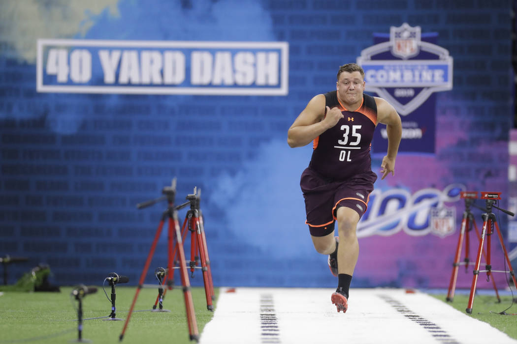 Boston College offensive lineman Chris Lindstrom runs the 40-yard dash during the NFL football ...