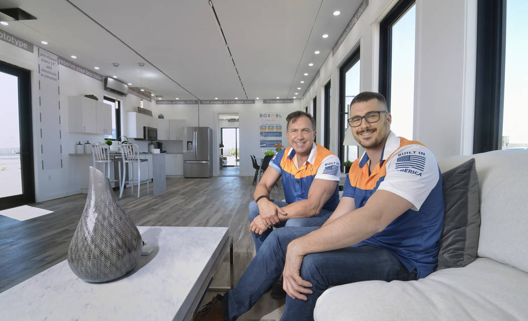 Paolo Tiramani, CEO of Boxabl, and his son Giliano Tiramani, head of business development, are ...