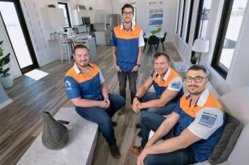 Members of the Boxabl team, from left, Kyle Denman, senior engineer, Nathan Nouhan, engineering ...
