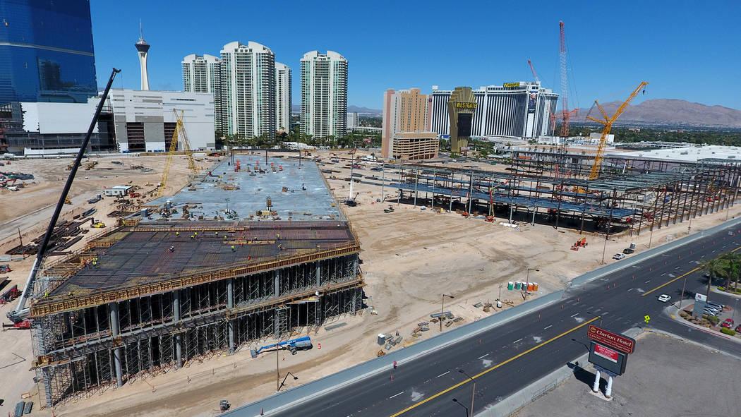 Aerial view of the Las Vegas Convention Center expansion on April 18, 2019. (Michael Quine/Las ...