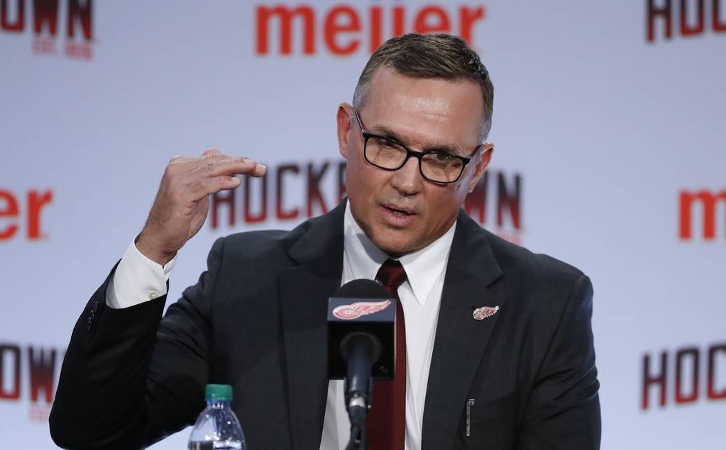 Steve Yzerman answers a question during an NHL hockey news conference where he was introduced a ...