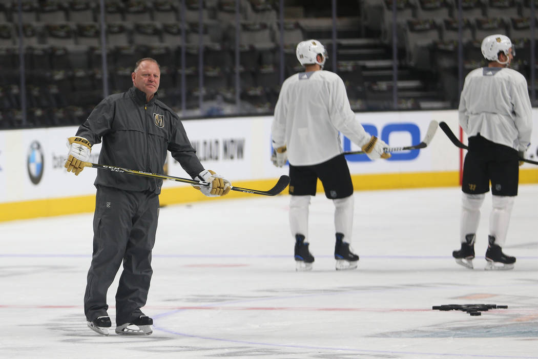 Vegas Golden Knights head coach Gerard Gallant during a team practice before Game 5 of an NHL W ...