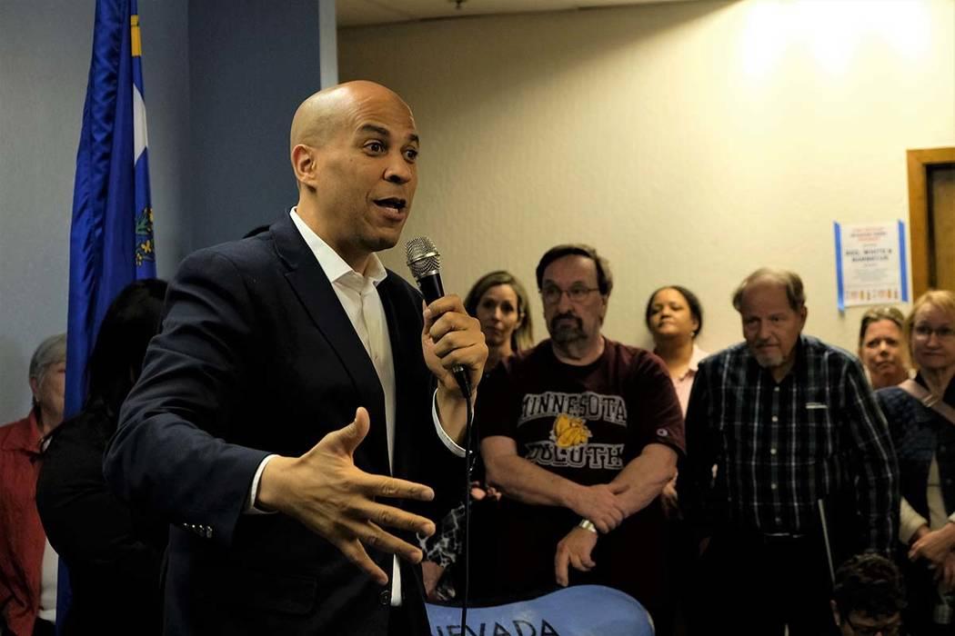 Democratic presidential hopeful and U.S. Sen. Cory Booker, D-N.J., speaks at the Washoe County ...