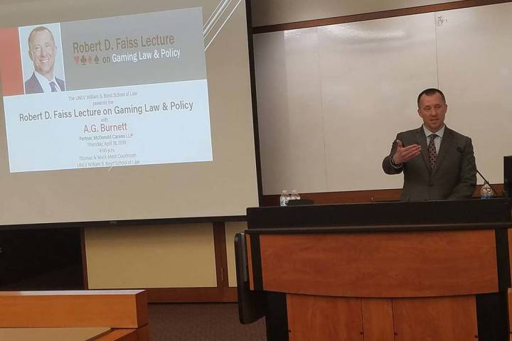 Former state Gaming Control Board Chairman A.G. Burnett addresses the Robert D. Faiss Lecture o ...