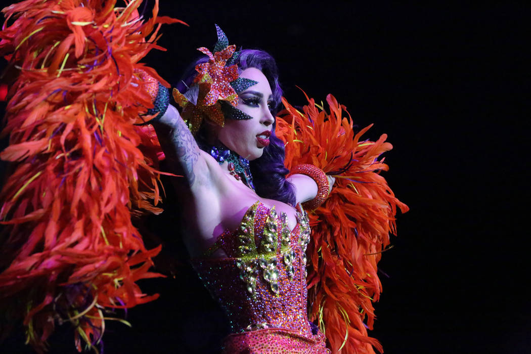 Burlesque entertainer Raquel Reed performs at the Viva Las Vegas Rockabilly Weekender Burlesque ...