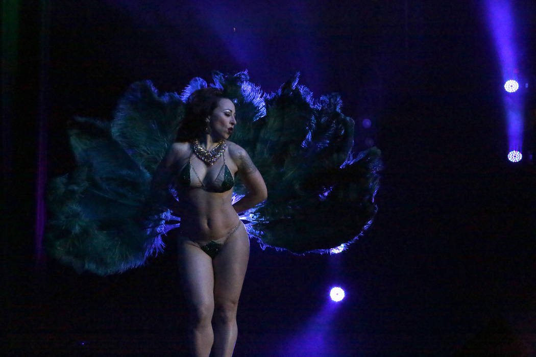 Burlesque entertainer Angie Pontani performs at the Burlesque Showcase during the Viva Las Vega ...