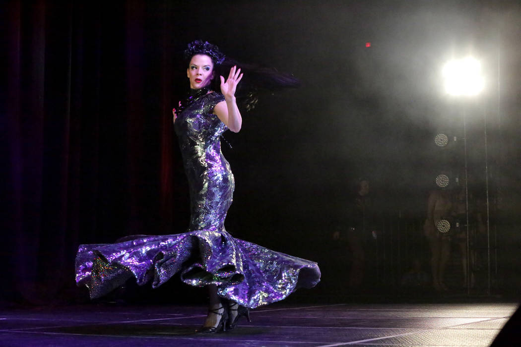 Burlesque entertainer Jamie Von Stratton performs at the Viva Las Vegas Rockabilly Weekender Bu ...