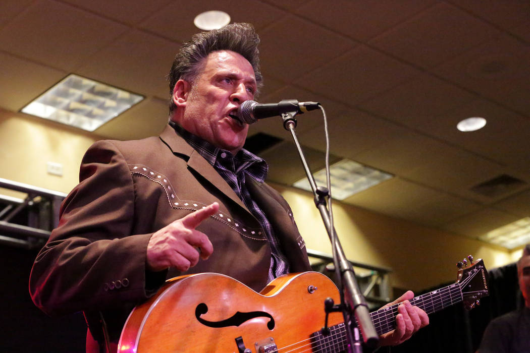 Roy Wilson, of Roy Wilson and the Buzzards, performs at the Viva Las Vegas Rockabilly Weekender ...