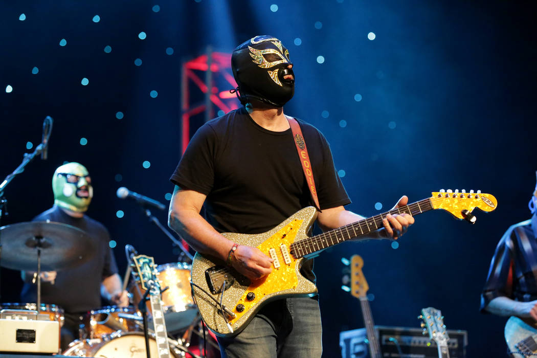 Eddie Angel of Los Straitjackets performs at the Deke Dickerson Guitar Geek Festival show durin ...