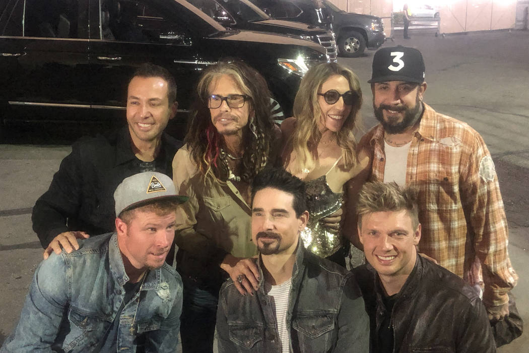 Steven Tyler and his girlfriend, Aimee Ann Preston, are shown with members of the Backstreet Bo ...