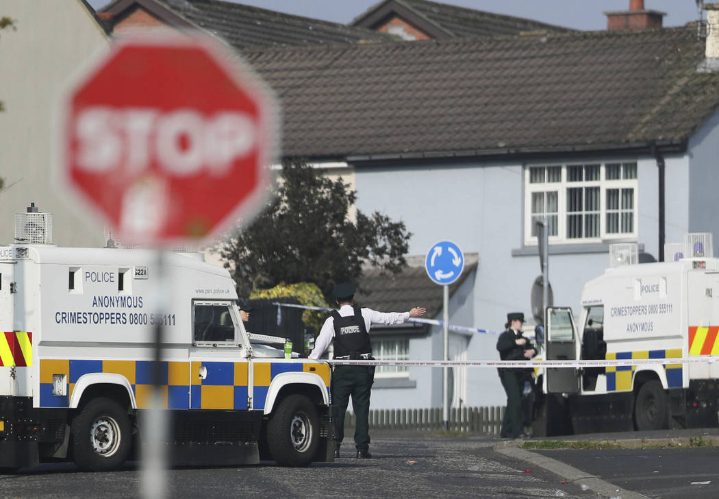 The scene in Londonderry, Northern Ireland, Friday April 19, 2019, following the death of 29-ye ...