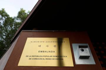 FILE - This Feb. 28, 2019 fie photo shows a view of North Korea's embassy in Madrid, Spain, Thu ...