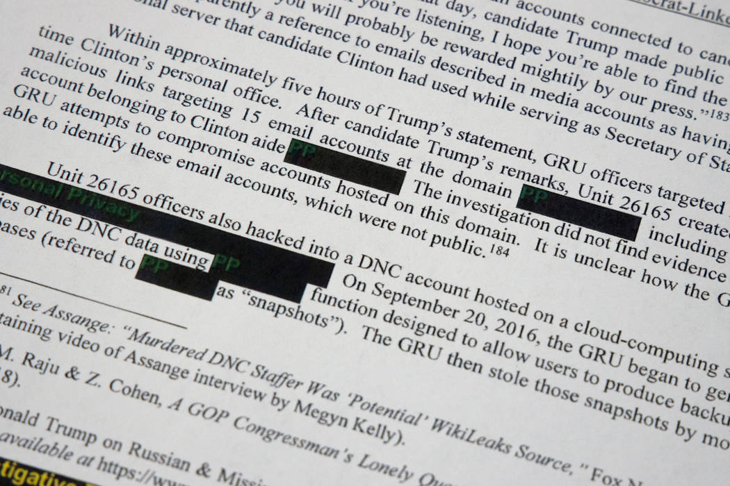 Special counsel Robert Mueller's redacted report on the investigation into Russian interference ...