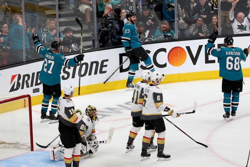 San Jose Sharks right wing Barclay Goodrow (23) celebrates a score against the Vegas Golden Kni ...