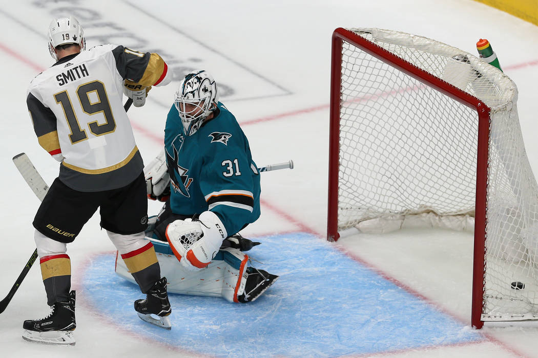 San Jose Sharks goaltender Martin Jones (31) misses a shot for a score by Vegas Golden Knights ...