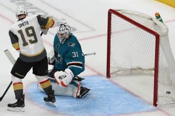San Jose Sharks goaltender Martin Jones (31) misses a shot for a score by Vegas Golden Knights ...