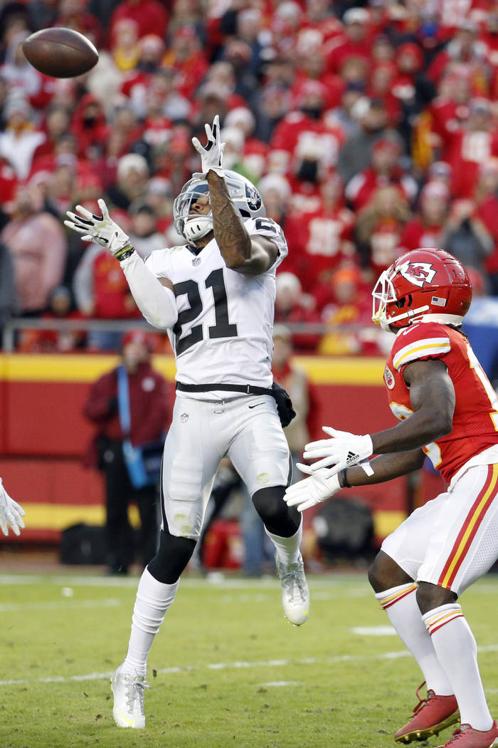 Oakland Raiders cornerback Gareon Conley (21) intercepts a pass intended for Kansas City Chiefs ...