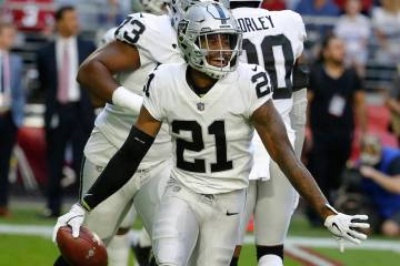 Oakland Raiders cornerback Gareon Conley (21) during an NFL football game against the Arizona C ...