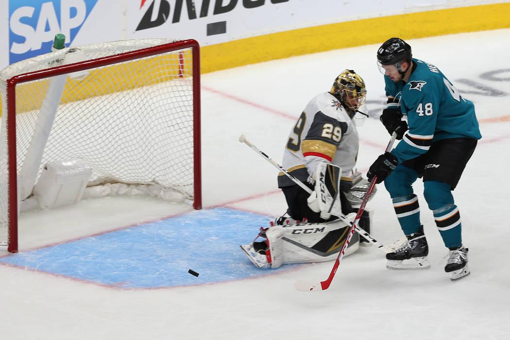 Vegas Golden Knights goaltender Marc-Andre Fleury (29) defends the goal against San Jose Sharks ...