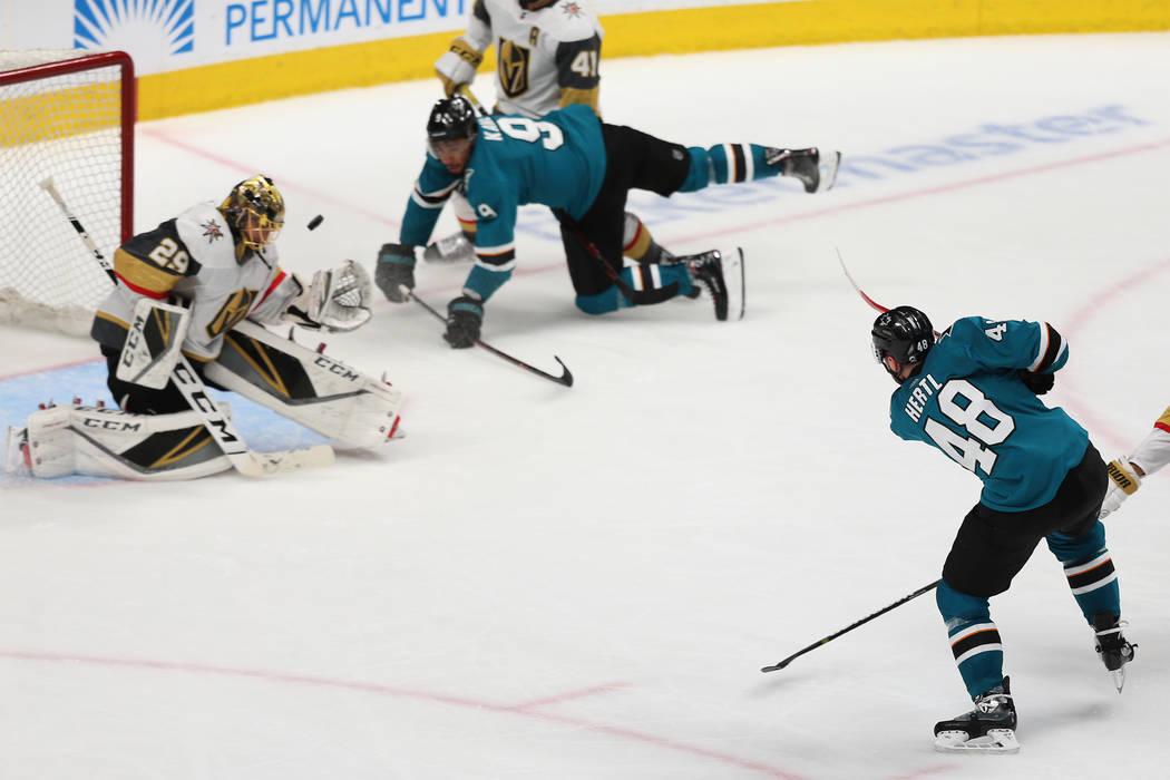 Vegas Golden Knights goaltender Marc-Andre Fleury (29) blocks a shot by San Jose Sharks center ...