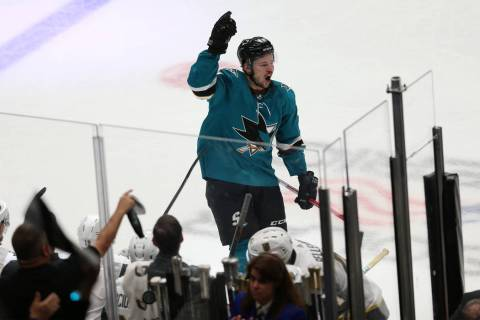 San Jose Sharks center Tomas Hertl (48) celebrates a score during the third period of Game 5 of ...