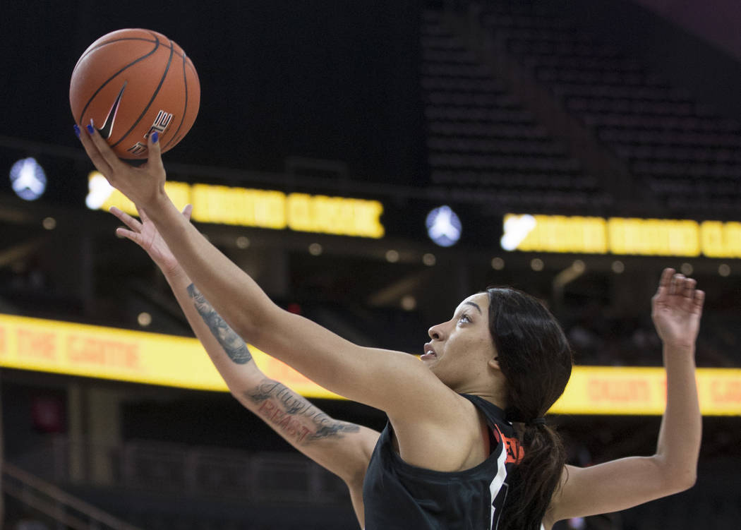 Breanna Beal (1) drives to the rim in the second quarter during the Jordan Brand Classic All-Am ...