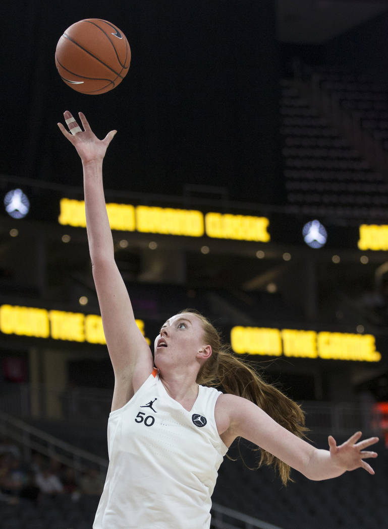 Ashten Prechtel (50) slices to the rim in the fourth quarter during the Jordan Brand Classic Al ...