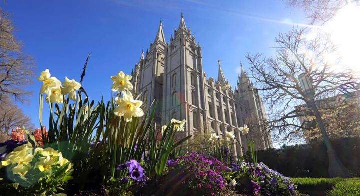 The Salt Lake Temple is shown Friday, April 19, 2019, in Salt Lake City. The iconic temple cent ...