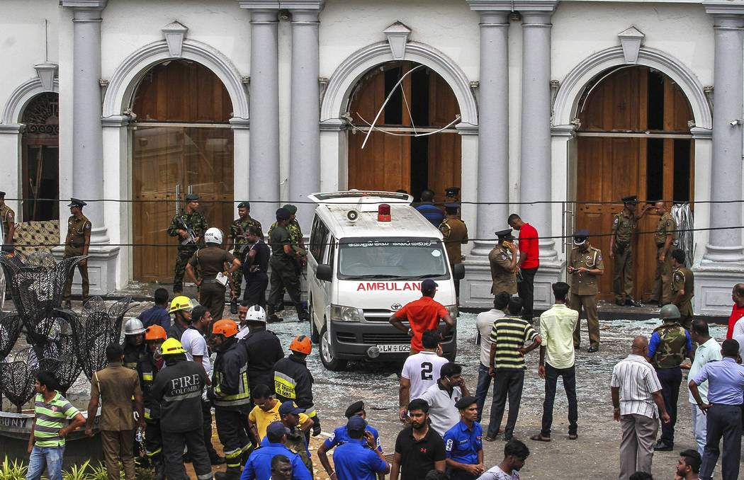 Sri Lankan Army soldiers secure the area around St. Anthony Shrine after a blast in Colombo, Sr ...