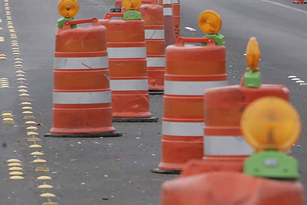 A construction zone is seen in Las Vegas. (Las Vegas Review-Journal)