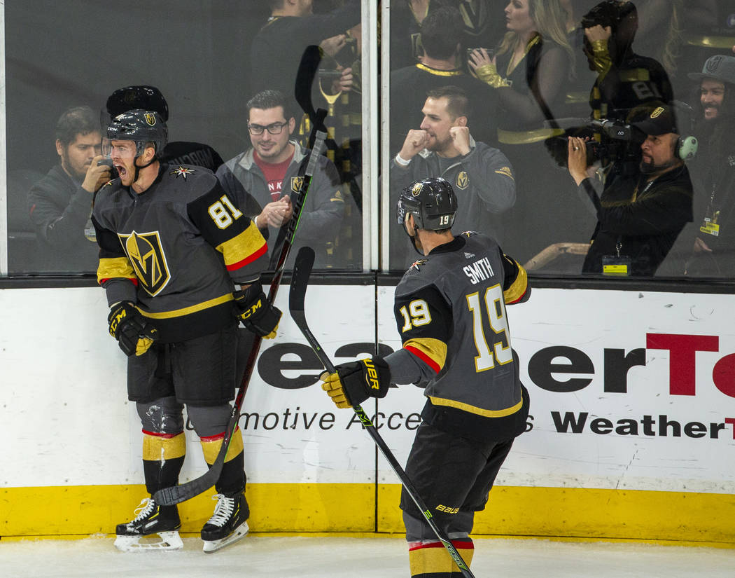 Golden Knights center Jonathan Marchessault (81) celebrates the first goal of the night during ...