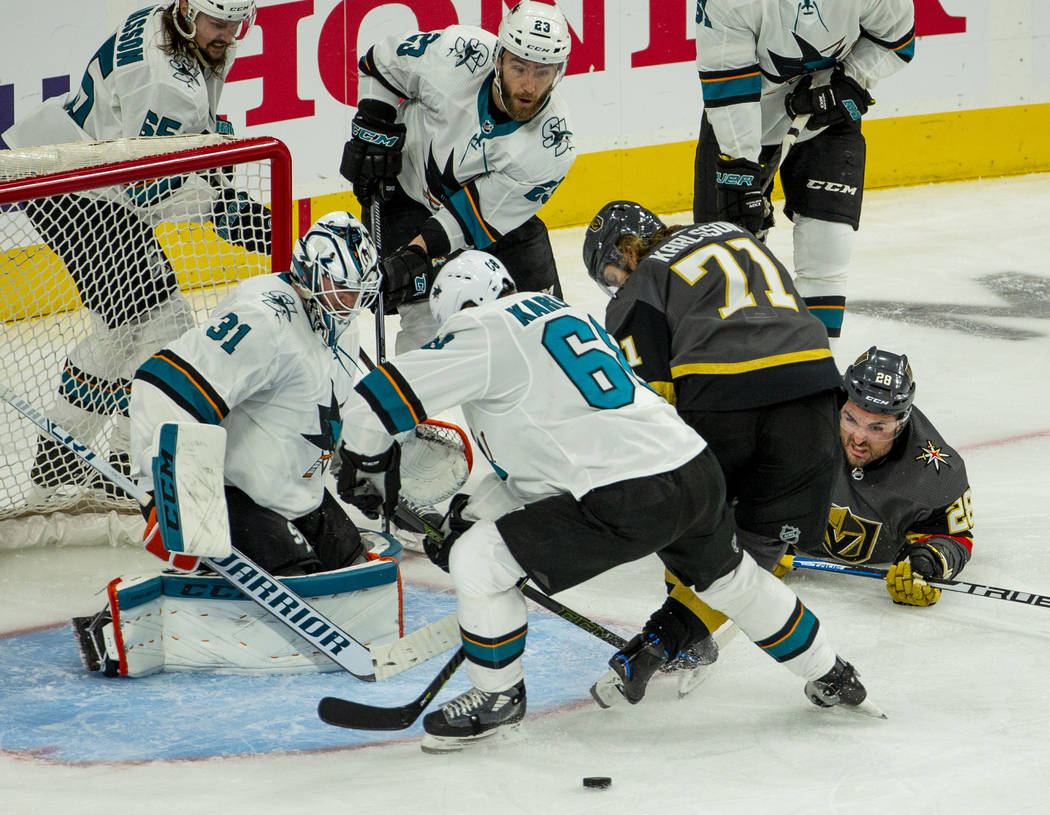 Golden Knights left wing William Carrier (28) watches an opportunity get away versus San Jose S ...