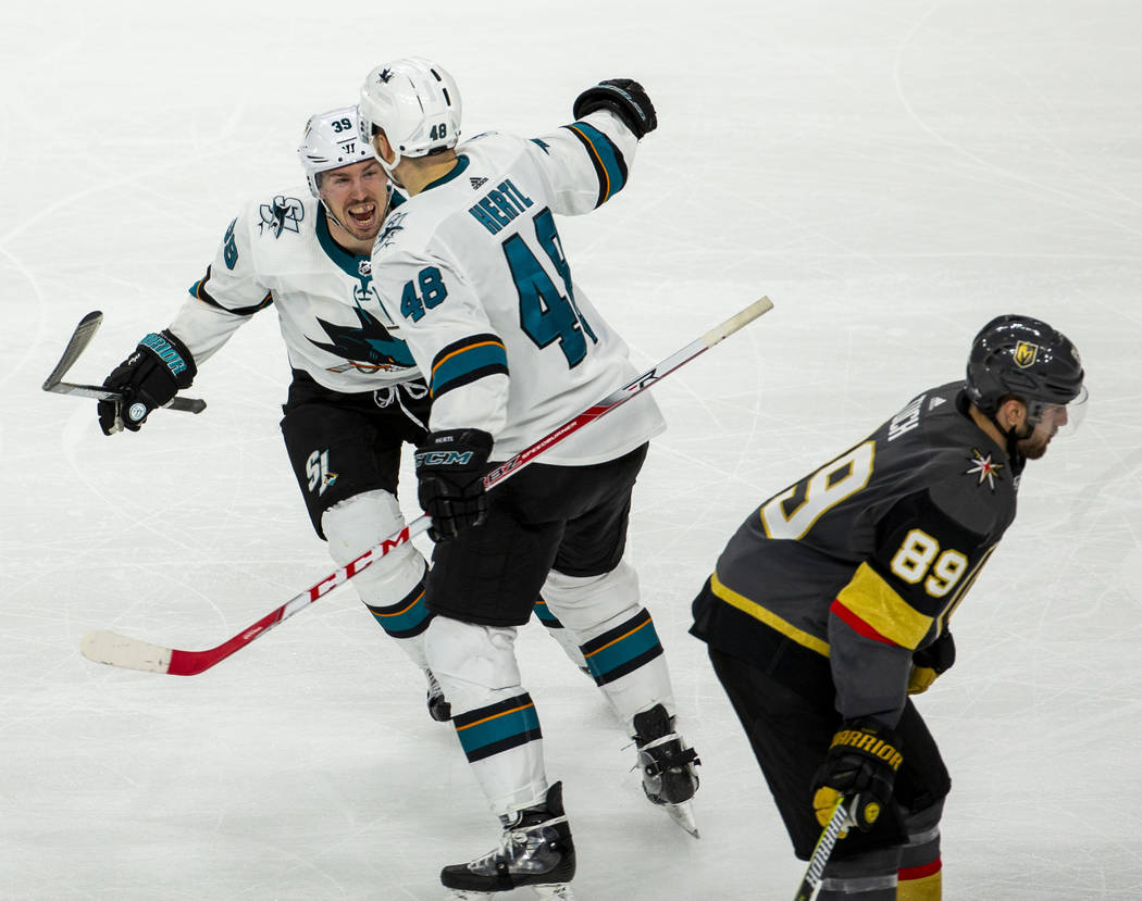 San Jose Sharks center Logan Couture (39) celebrates the winning goal by San Jose Sharks center ...