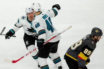 San Jose Sharks center Logan Couture (39) celebrates the winning goal by San Jose Sharks center ...