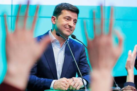Ukrainian comedian and presidential candidate Volodymyr Zelenski speaks to his supporters at hi ...