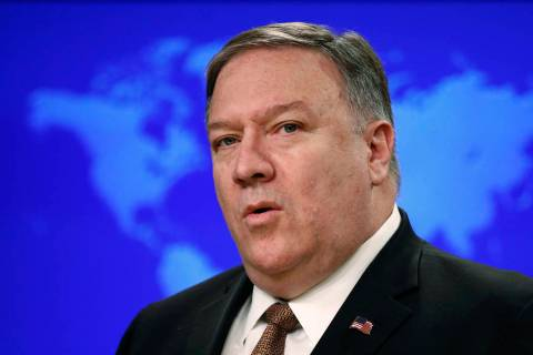 Secretary of State Mike Pompeo speaks April 8, 2019, at a news conference to announce the Trump ...