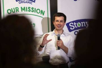 Democratic presidential candidate South Bend Mayor Pete Buttigieg answers questions from employ ...