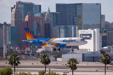 An Allegiant Air flight prepares to land at McCarran International Airport in Las Vegas on Mond ...