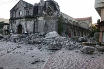 The St. Catherine church is damaged after an earthquake struck Porac town, Pampanga province, n ...