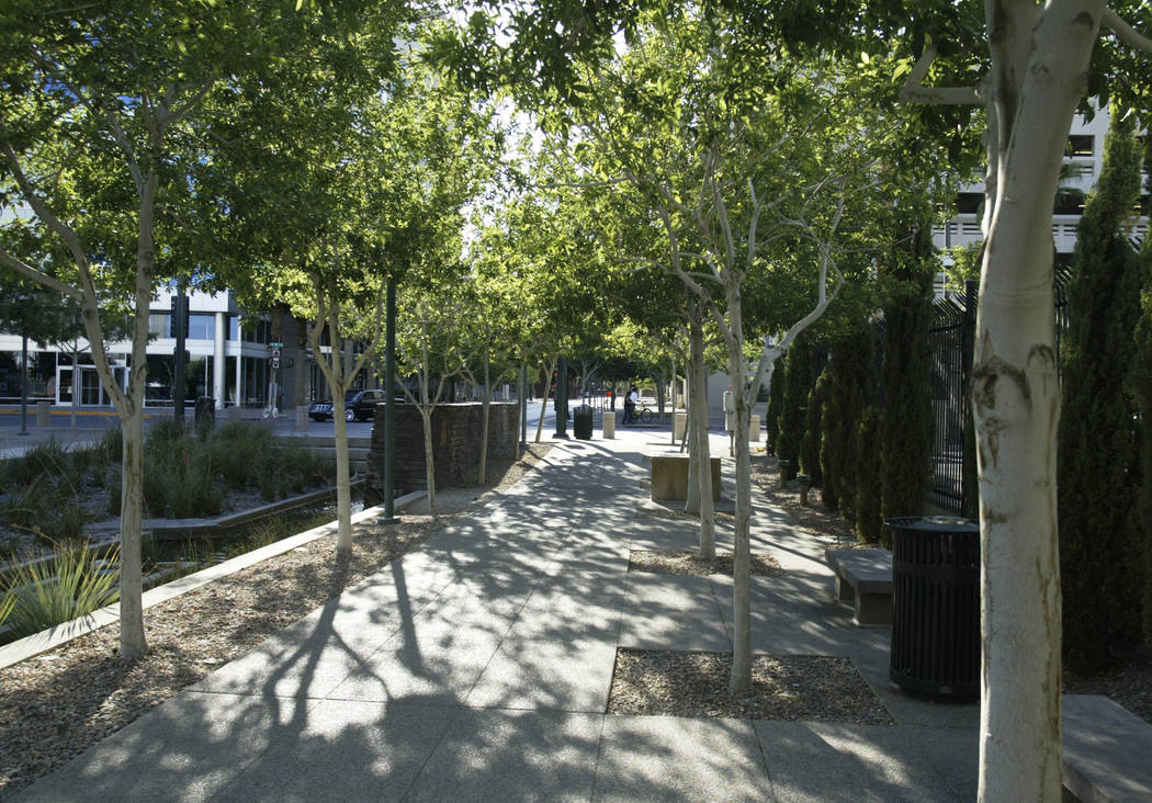 Trees line a walkway in the Centennial Plaza on Sunday, June 22, 2008, in downtown Las Vegas. ( ...