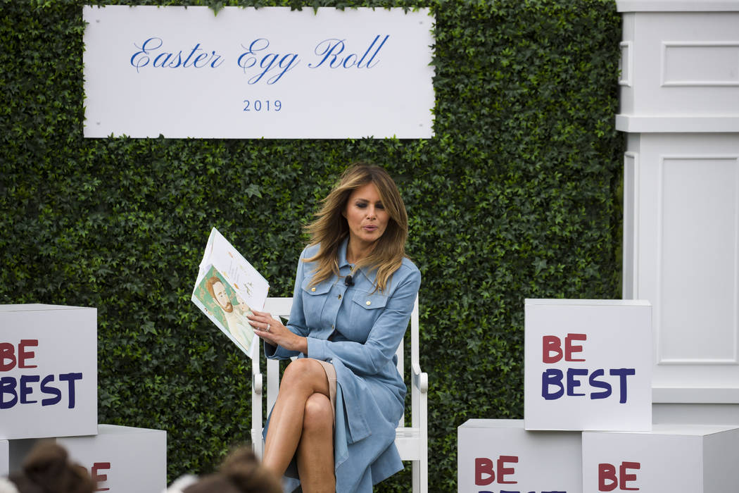 "First lady Melania Trump reads ""The Wonderful Things You Will Do,"" to children on the South Law ..."