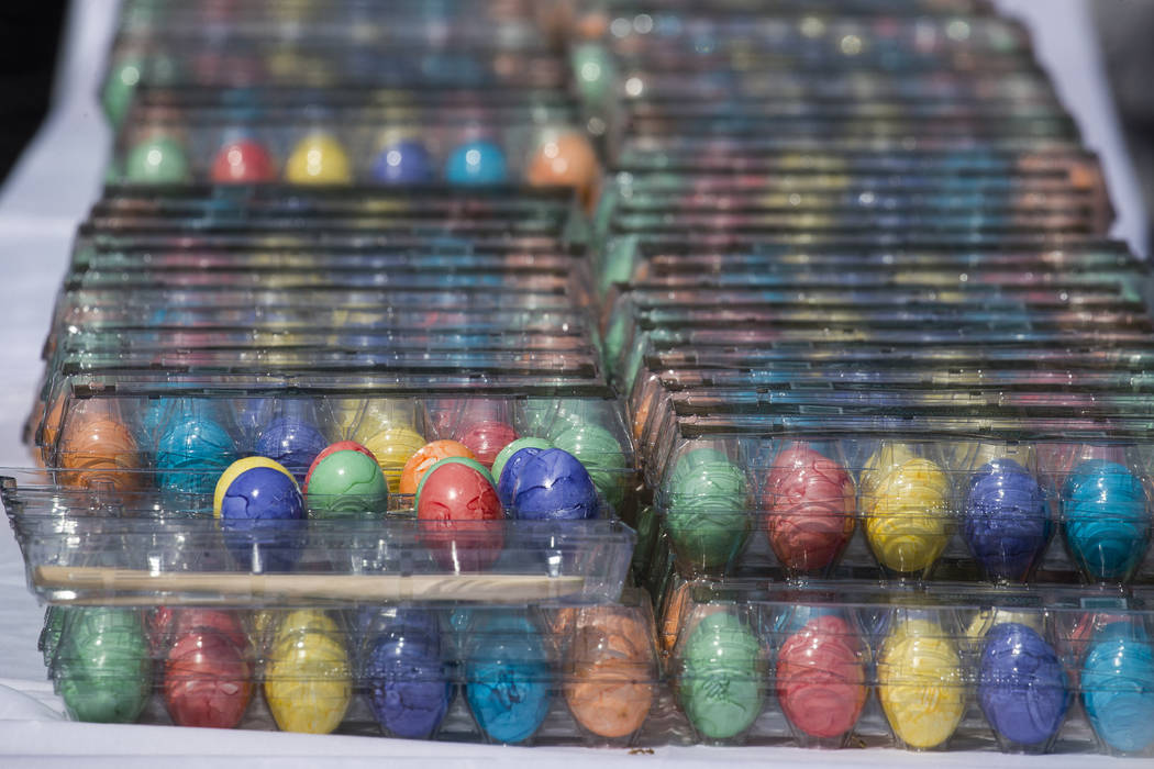 Colored Easter Eggs are ready on the South Lawn of the White House in Washington, Monday, April ...