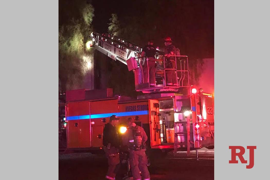 Crews battle a fire Saturday, April 20, 2019, at 3231 Jericho St. in Las Vegas. (Clark County F ...