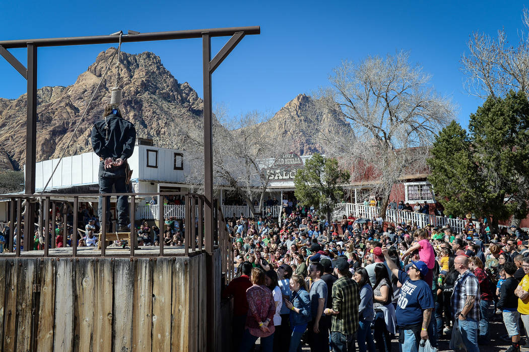 People gather for a performance during the last day of operations at Bonnie Springs Ranch in La ...