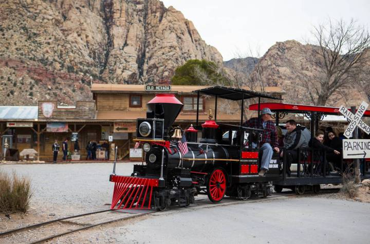 Visitors enjoy a train ride at Bonnie Springs Ranch outside of Las Vegas on Saturday, Jan. 12, ...