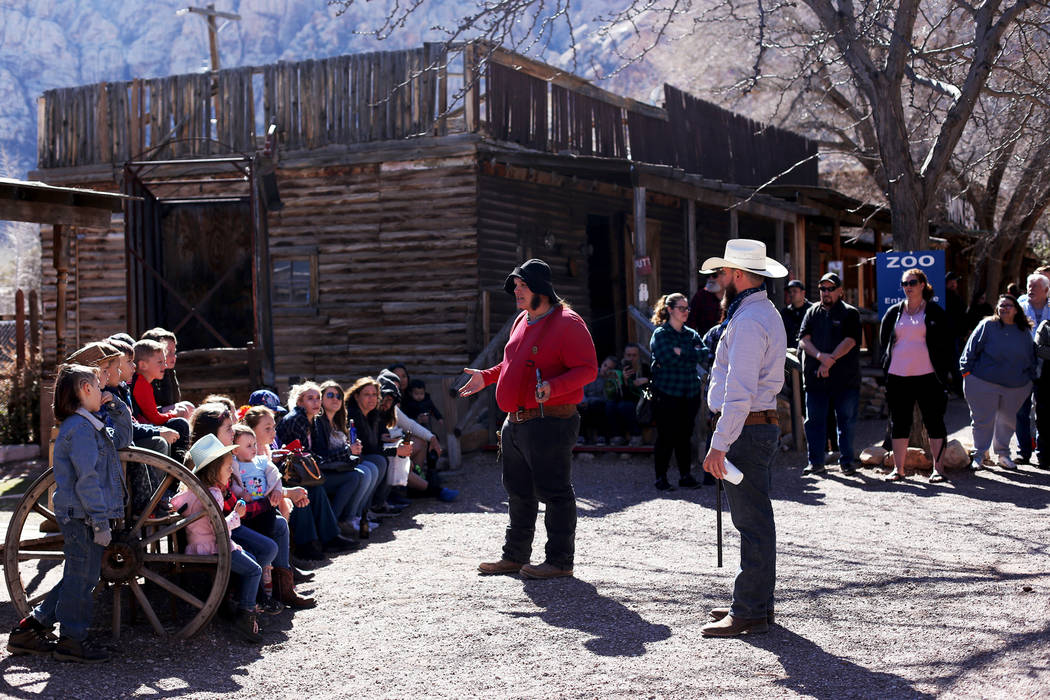 Actors address the crowd before a performance at Bonnie Springs in Blue Diamond, Friday, March ...