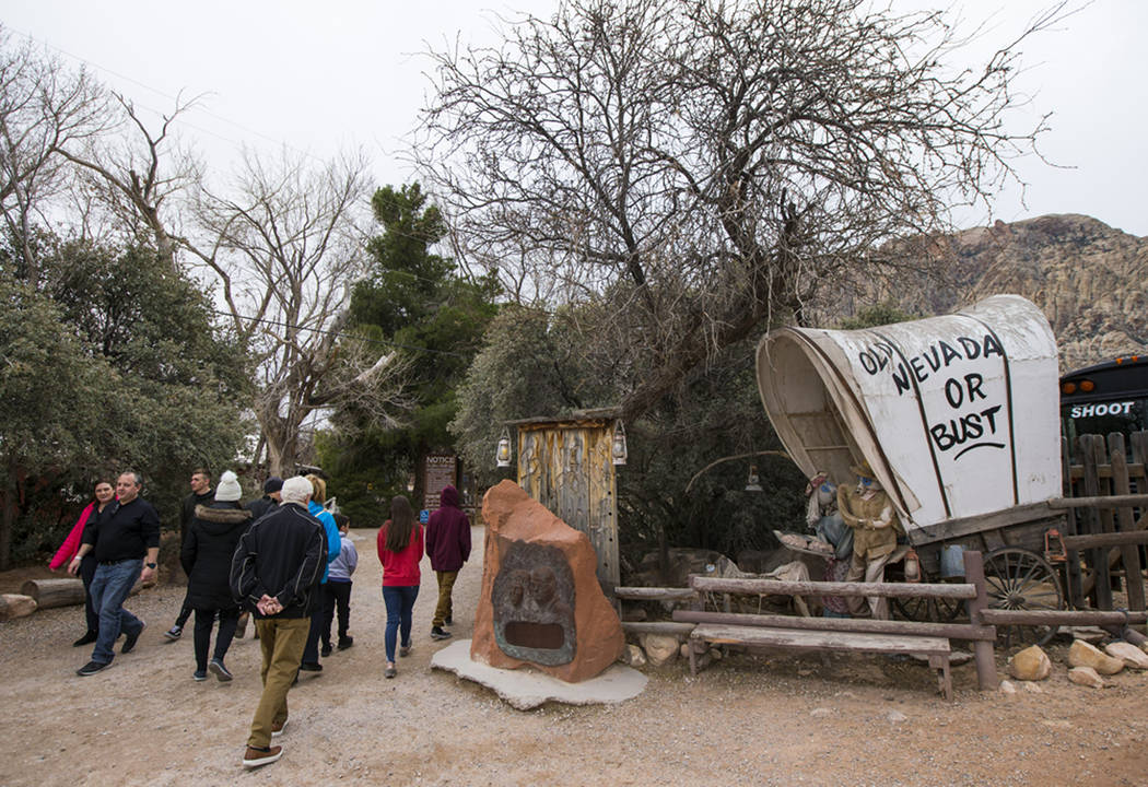 Visitors arrive at Bonnie Springs Ranch outside of Las Vegas, Saturday, Jan. 12, 2019. County o ...