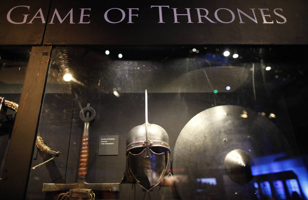 "FILE - In this is June 10, 2014 file photo of weapons from the ""Game of Thrones"" are ..."