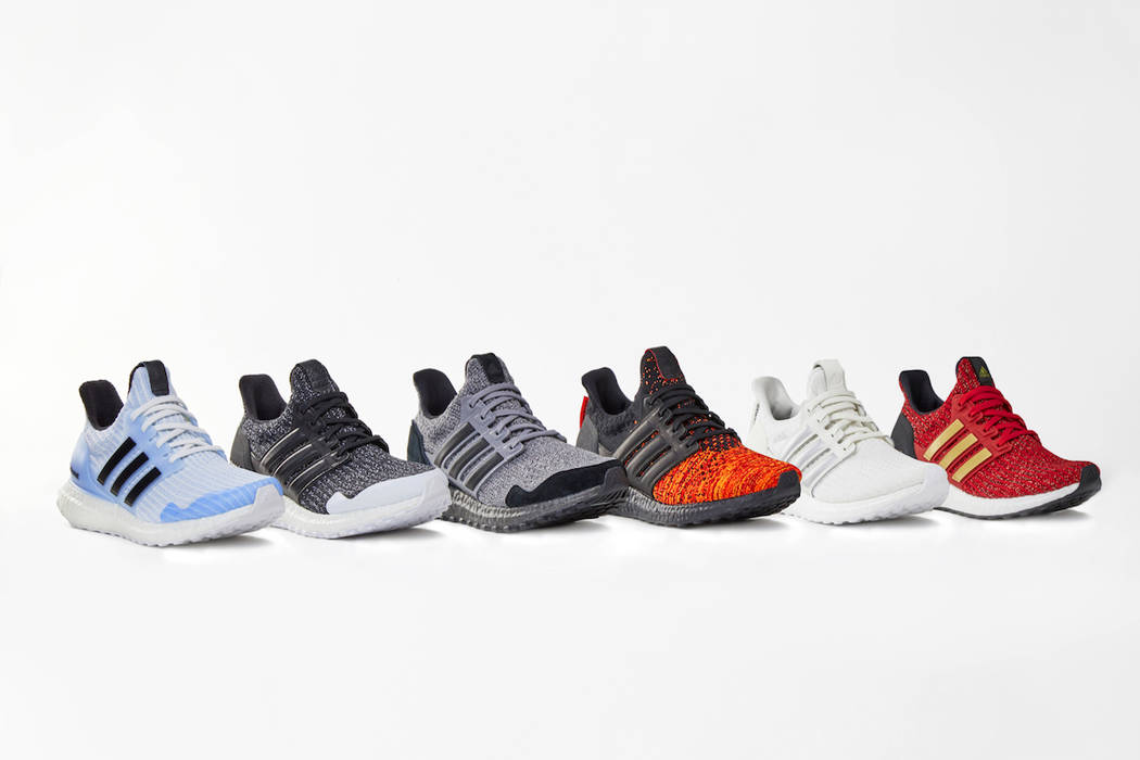 This product image released by HBO shows various styles of Adidas x Game of Thrones Ultra Boost ...